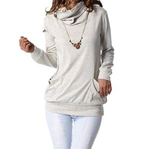 Sweaters - Light Gray Cowl Tunic